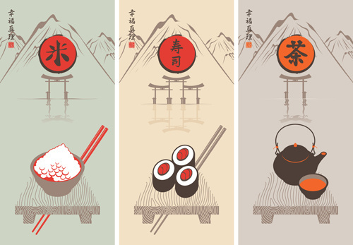 rice with sushi and tea vector backgrounds