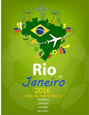rio 2016 olympic banner design with map