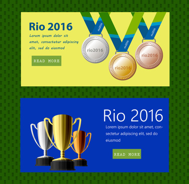 rio 2016 olympic website design with trophies elements