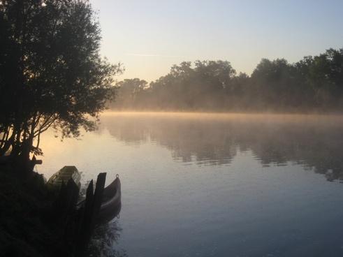 river deep mist morning