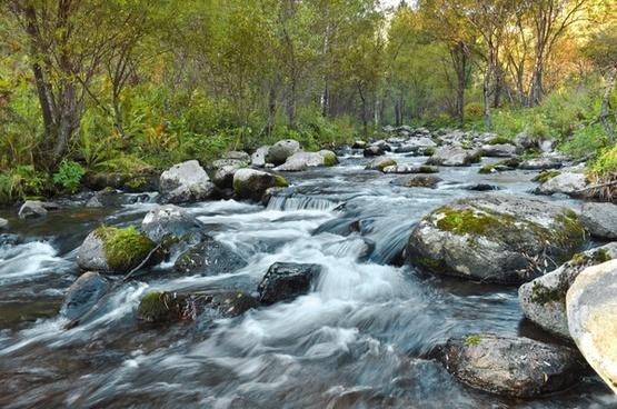 river flow rocks landscape