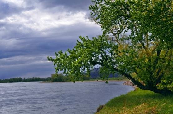 river landscape storm
