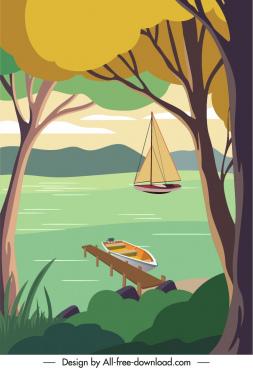 river scene poster colorful calming sketch