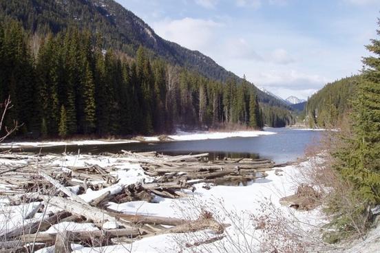 river winter season nature