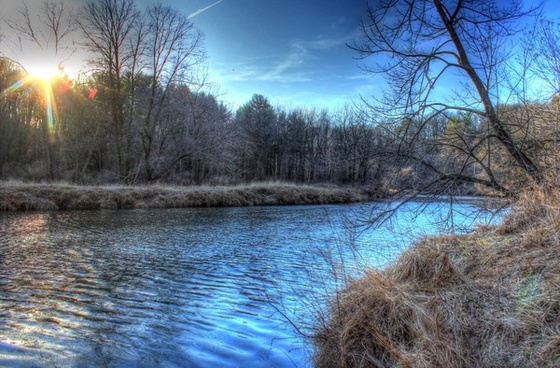 riverside at dusk at backbone state park iowa