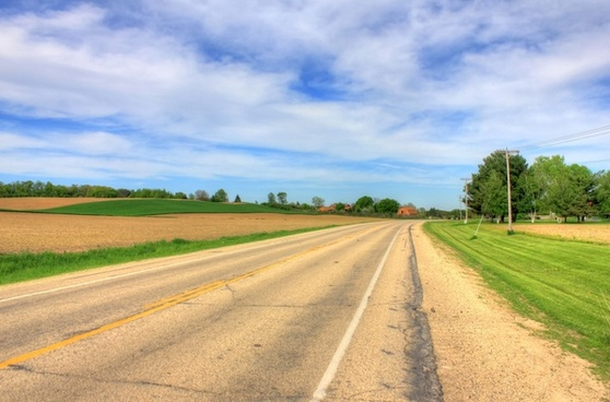 road and sky in southern wisconsin