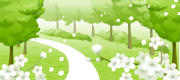 road and the woods design vector