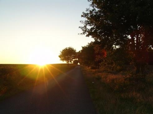 road away sunset
