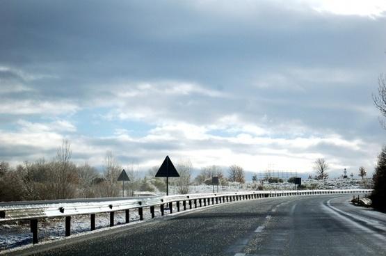road highway clouds