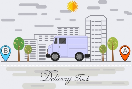 road logistic background city sketch truck icons decor