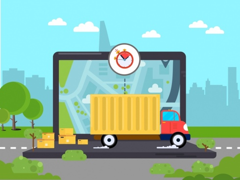 road logistics background truck screen freight icons