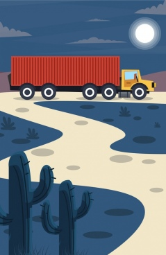 road logistics drawing trailer icon colored cartoon design