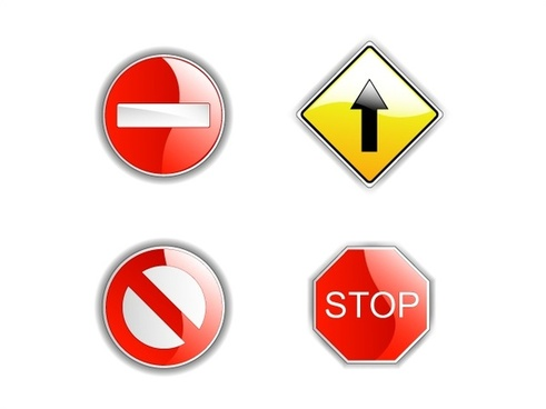 road traffic signboards collection vector illustration