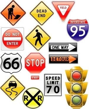 traffic signs collection vector illustration in various shapes