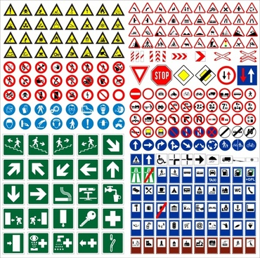 signs collection traffic direction sketch colored flat shapes