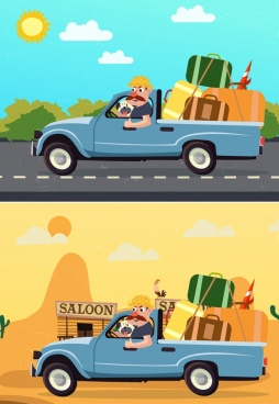 road trip drawing car luggage man colored cartoon