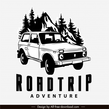 road trip logo black white handdrawn classic car