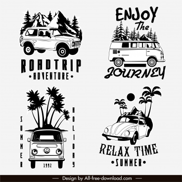 road trip logotypes black white classic cars sketch