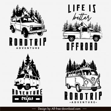 road trip logotypes retro design vehicles sketch
