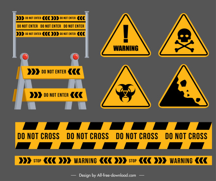 road warning sign templates modern black yellow shapes