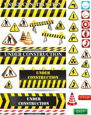 traffic construction signs templates modern flat 3d shapes