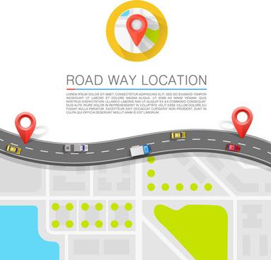 road way location navigation template vector