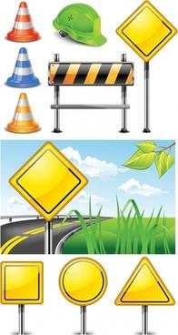 roadblock signs vector