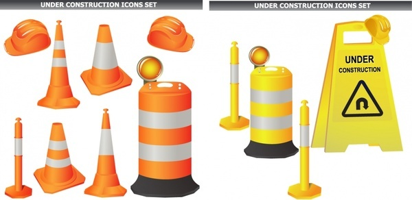 under construction design elements colored modern 3d objects