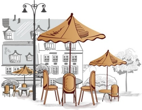 roadside cafes 02 vector