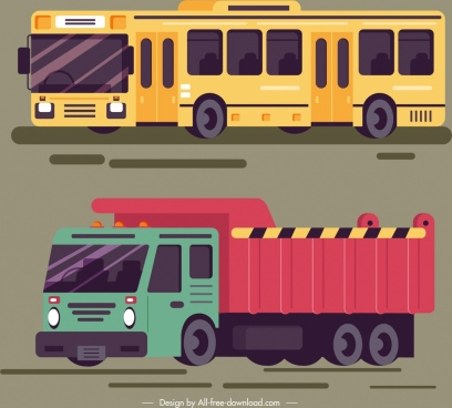 roadway design elements bus truck icons