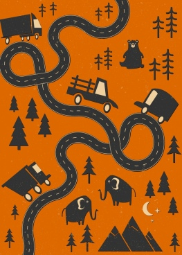 roadway map sketch black design cars animals icons