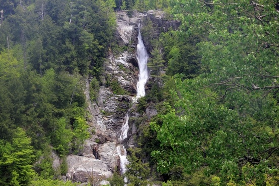 roaring brook falls from afar in the adirondack mountains new york