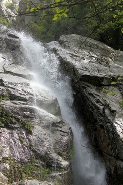 roaring brook falls side view in the adirondack mountains new york