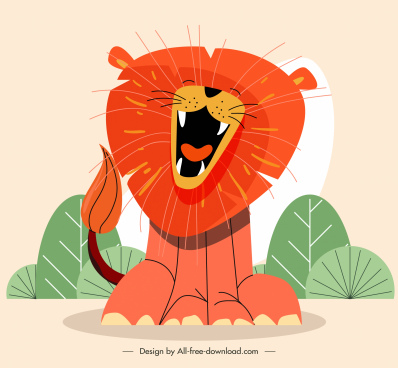 roaring lion painting colored handdrawn sketch