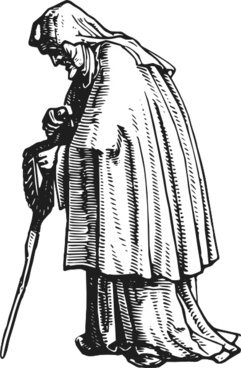 Robed Old Woman clip art