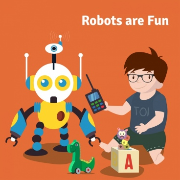 robot advertisement boy toy icons cartoon design