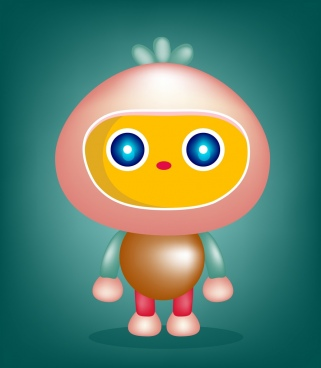 robot background cute cartoon character