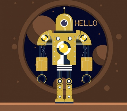 robot background shiny yellow icon decor