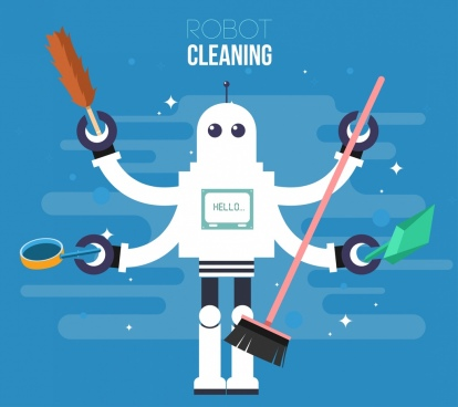 robot cleaning advertising multi hands character icon