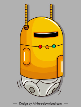 robot icon shiny modern non legs shaped