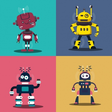 robot icons sets funny character classical decor