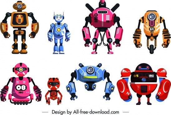 robot icons templates modern colorful design