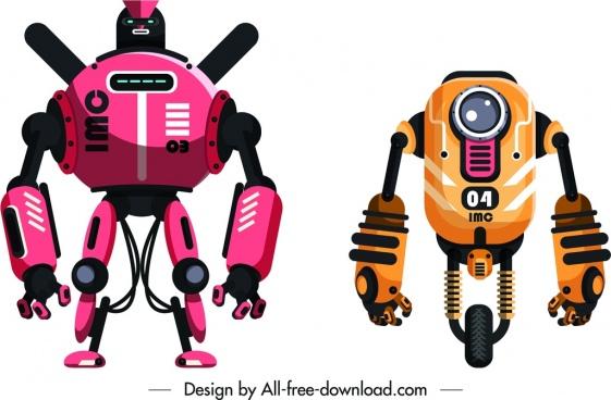 robot icons templates shiny contemporary design