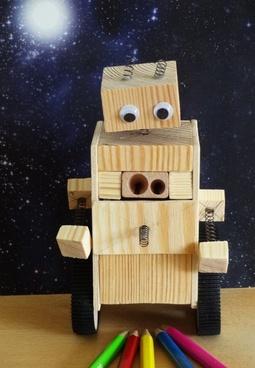robot pencil sharpener wood work