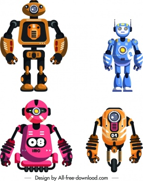 robot templates colorful modern shapes design