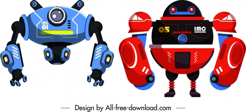robot templates red blue modern design