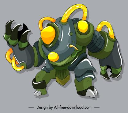 robotic warrior icon modern colorful 3d sketch