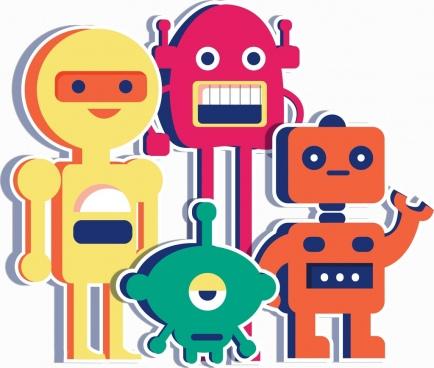 robots background colorful icons flat paper cut design