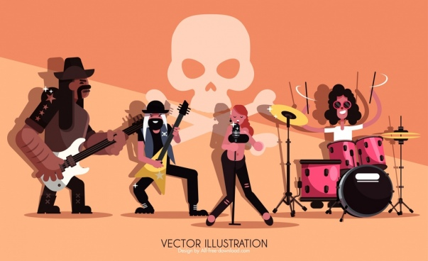 rock band advertising background performers icon cartoon characters