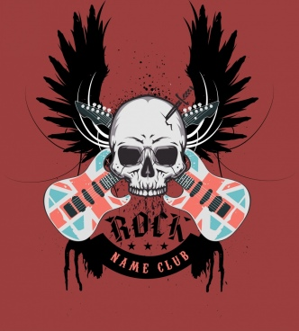 rock club logo skull wing guitar icons decoration